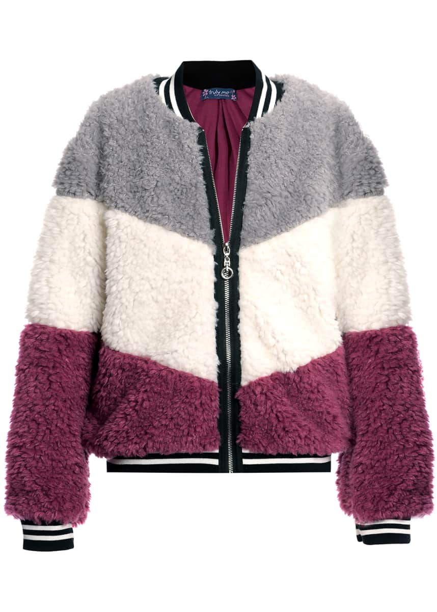Hannah Banana Girl's Tricolor Faux Fur Bomber Jacket, Size 7-16