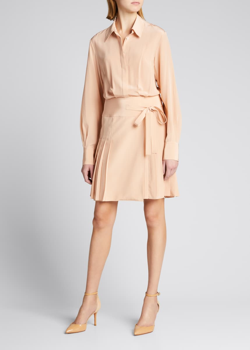 Jason Wu Pleated Silk Shirtdress