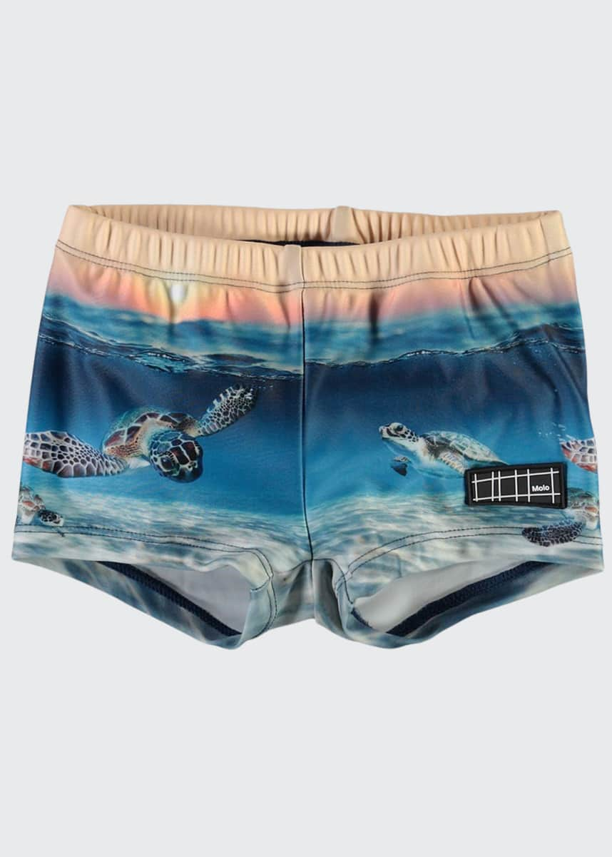 Molo Boy's Nansen Turtle Printed Swim Trunks, Size Newborn-3