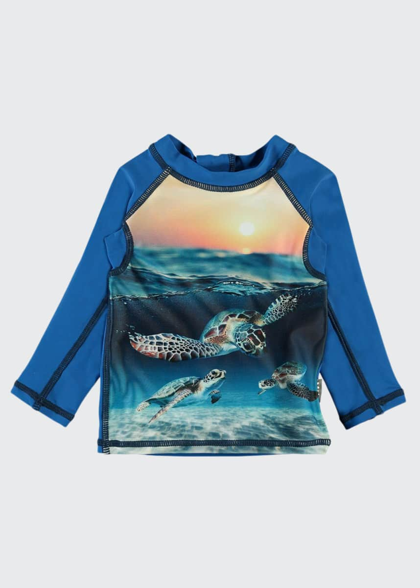 Molo Boy's Nemo Turtle Printed Long-Sleeve Rash Guard, Size Newborn-3