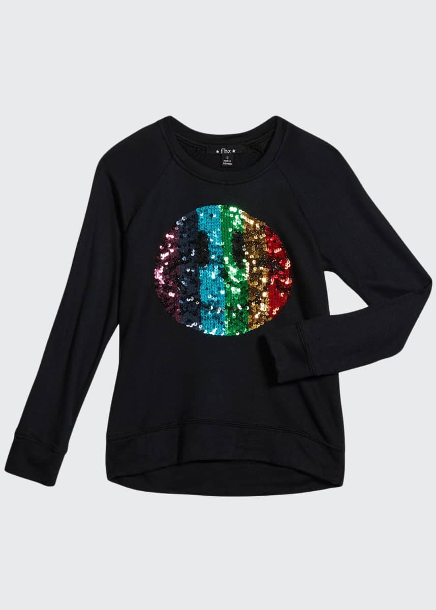 Flowers by Zoe Girl's Rainbow Sequined Smiley Face Sweatshirt, Size S-XL