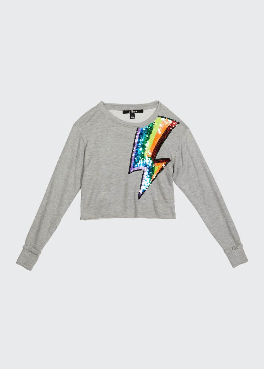 Flowers by Zoe Girl's Rainbow Sequin Lightning Bolt Sweater, Size 4-6