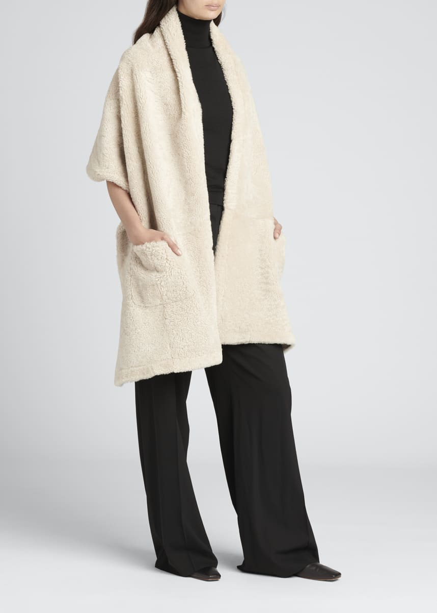 THE ROW Hira Lamb Shearling Shawl w/ Pockets