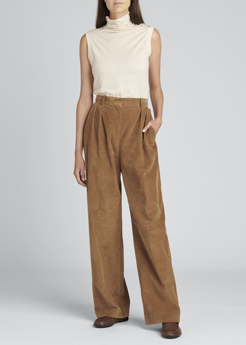 THE ROW Chandler Wide-Leg Pleated Corduroy Pants