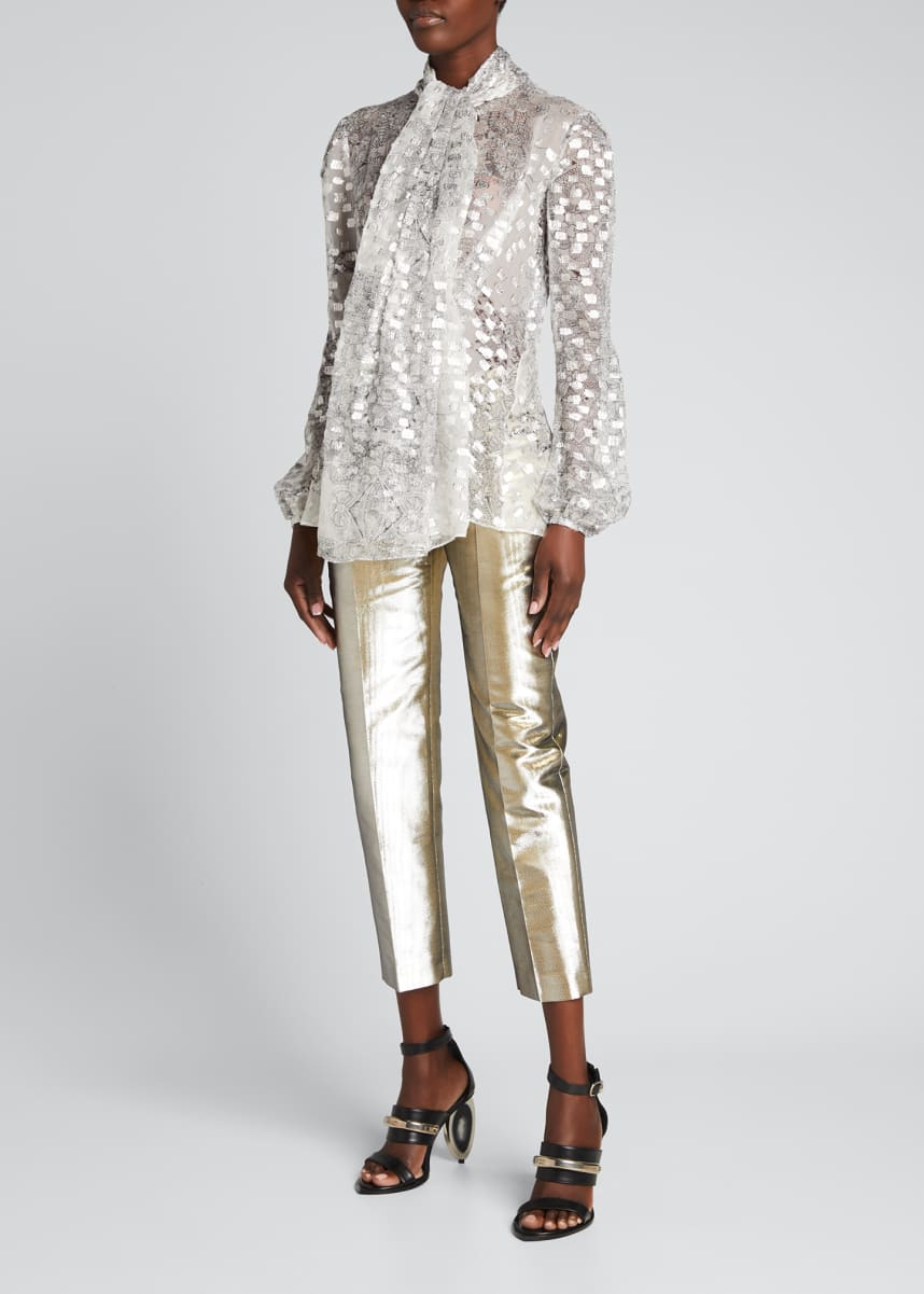 Alexander McQueen Printed Fil Coupe Scarf-Neck Blouse