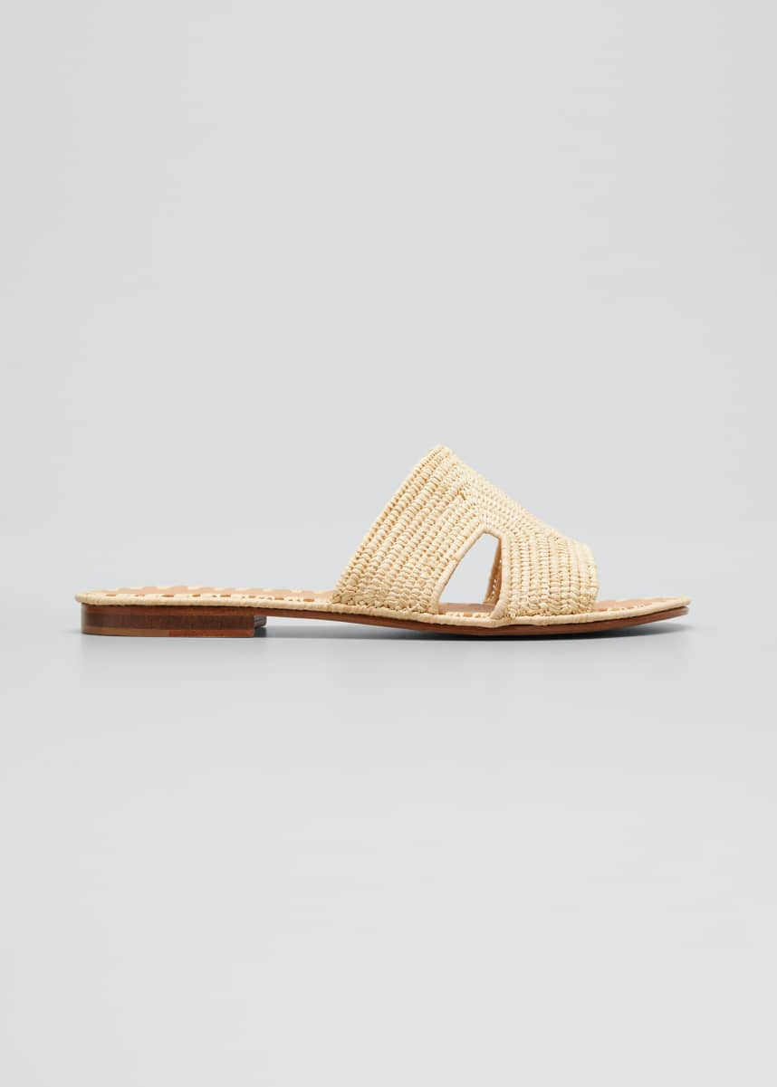 Carrie Forbes Cuadro Raffia Flat Slide Sandals