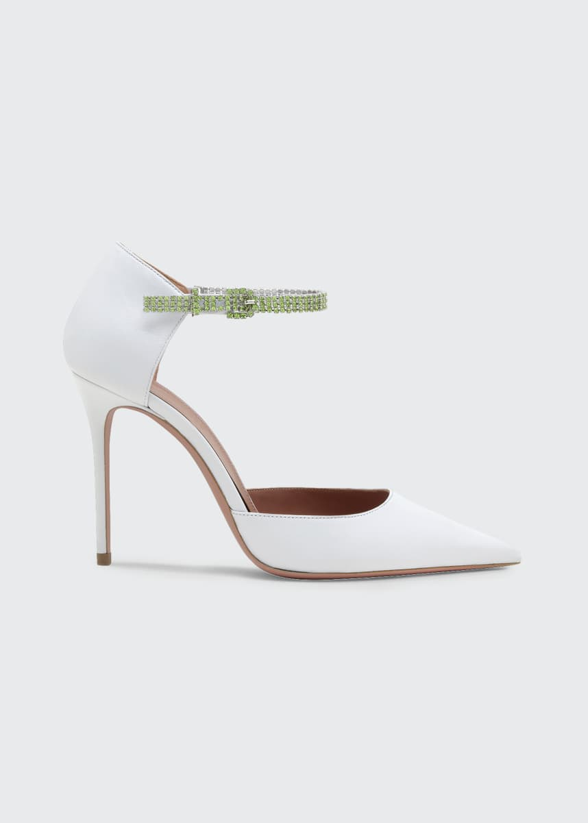 Amina Muaddi Ursina Crystal-Strap Stiletto Pumps