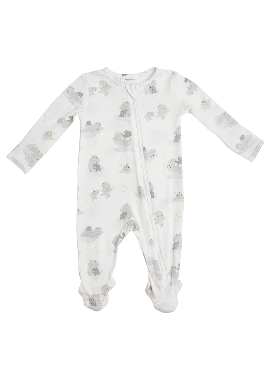 Angel Dear Kid's Grey Hippo Zip-Up Footie Pajamas, Size Newborn-9M