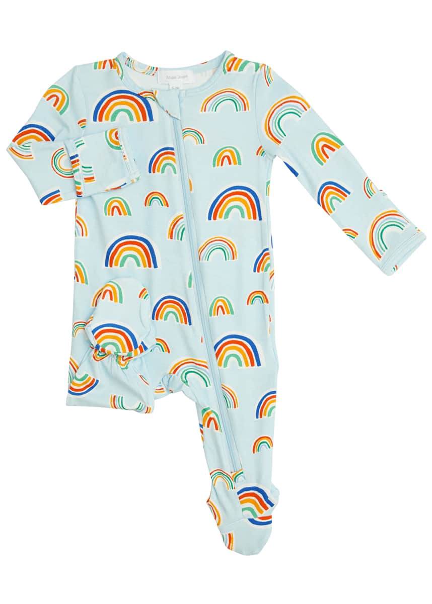 Angel Dear Kid's Rainbow Zip-Up Footie Pajamas, Size Newborn-9M