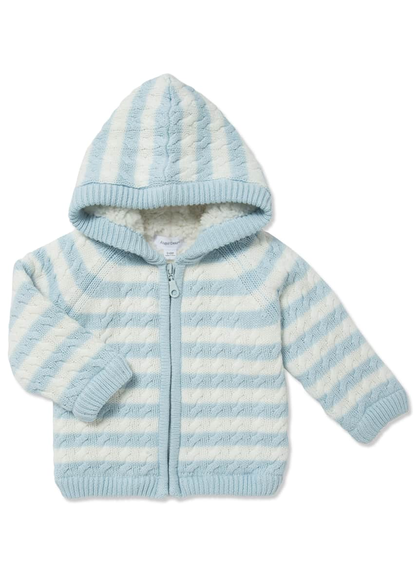 Angel Dear Boy's Striped Cable Knit Hooded Jacket, Size 0-18M