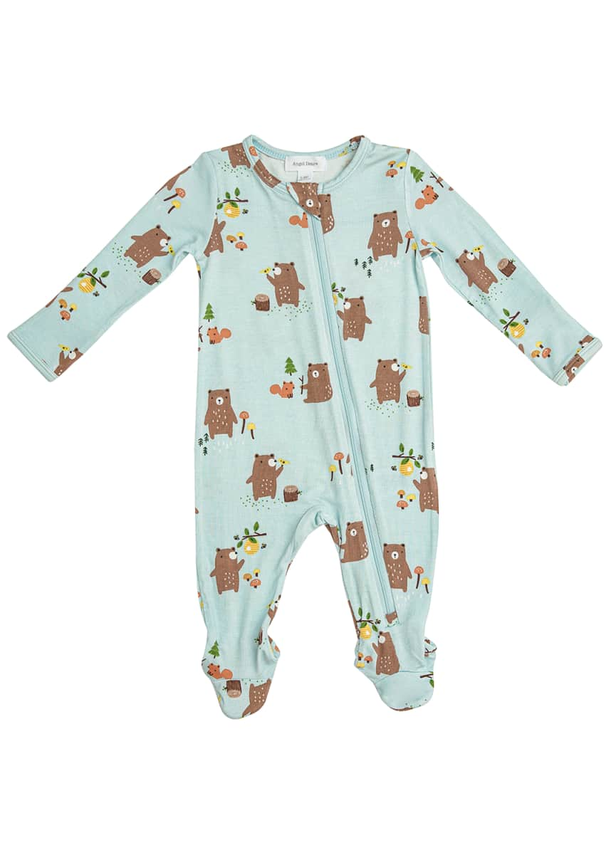 Angel Dear Boy's Baby Bears Zip-Up Footie Pajamas, Size Newborn-18M