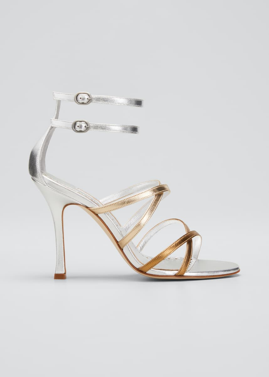 Manolo Blahnik Triplexa Tricolor Metallic Strappy Sandals