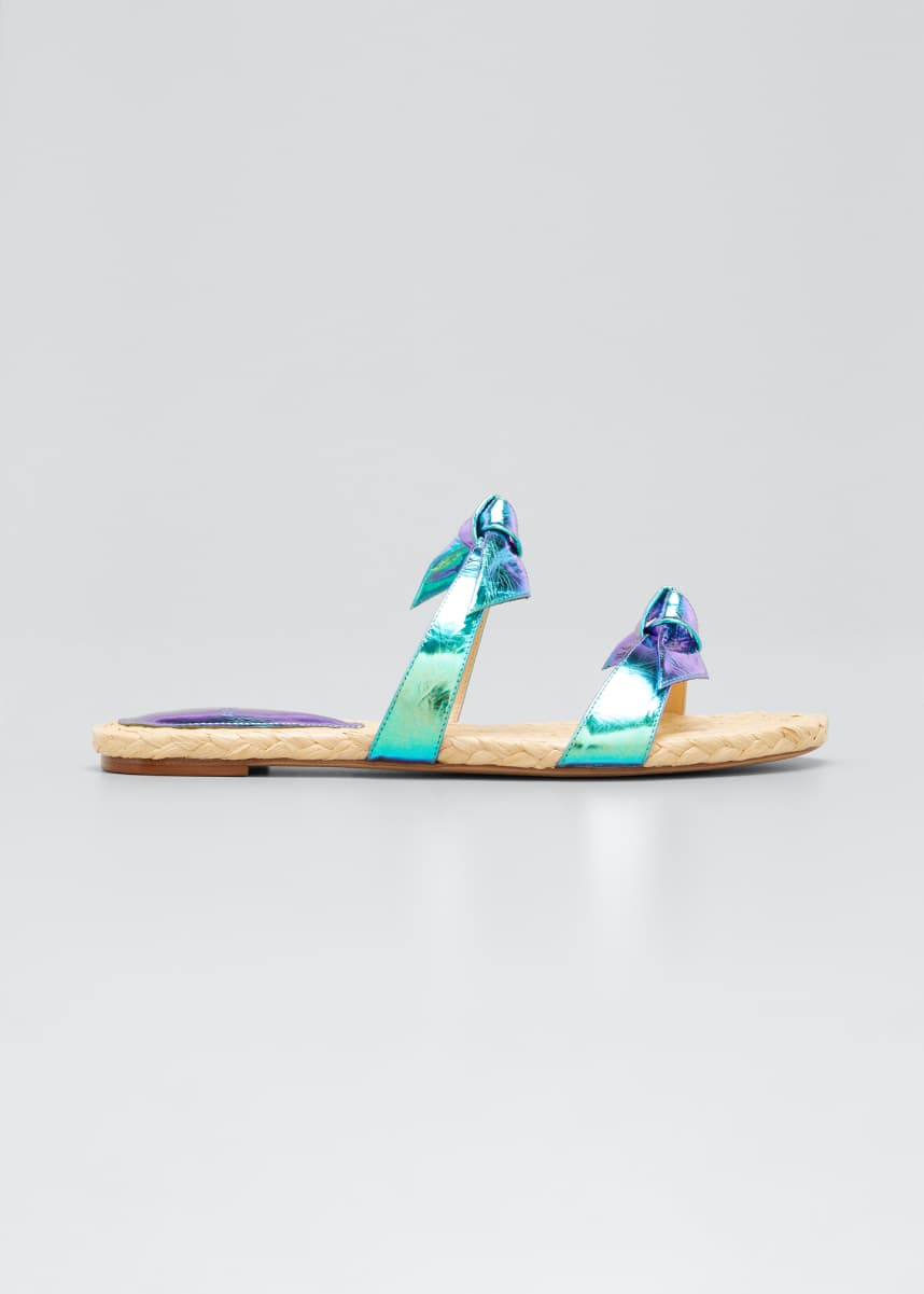 Alexandre Birman Clarita Holographic Woven Rope Flat Sandals