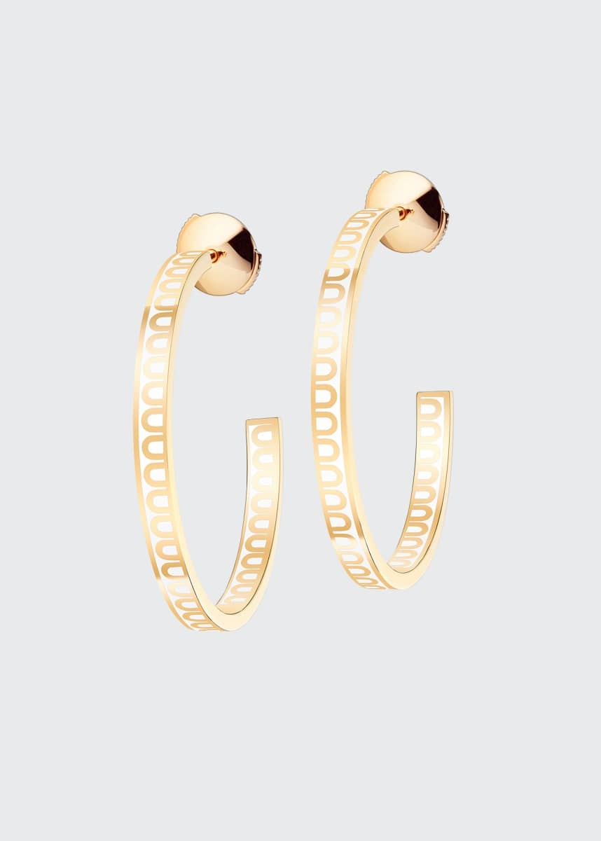 DAVIDOR 18k Yellow Gold Ceramic L'Arc Hoop Earrings, Neige