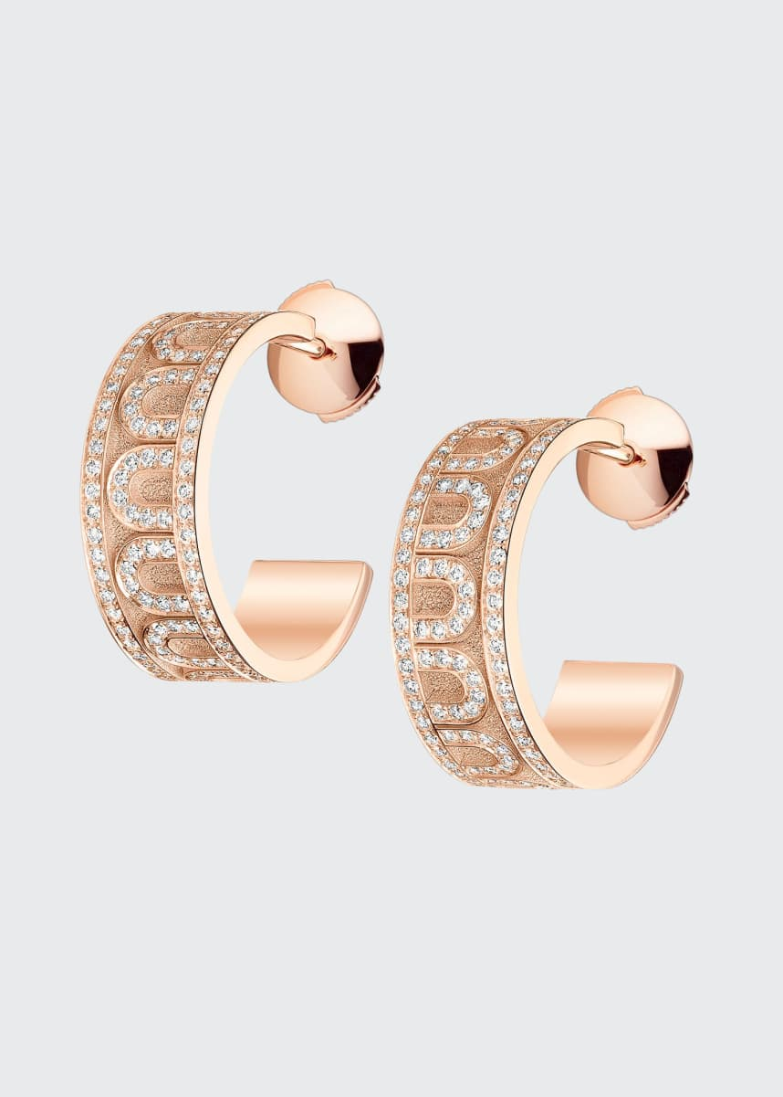 DAVIDOR 18k Rose Gold Diamond L'Arc Hoop Earrings