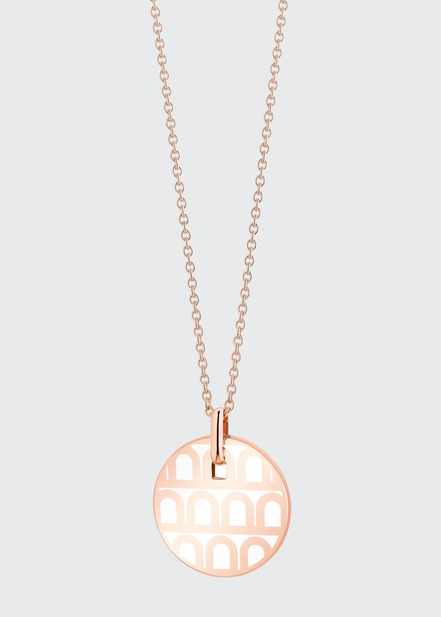 DAVIDOR 18k Rose Gold Ceramic L'Arc Necklace, Neige