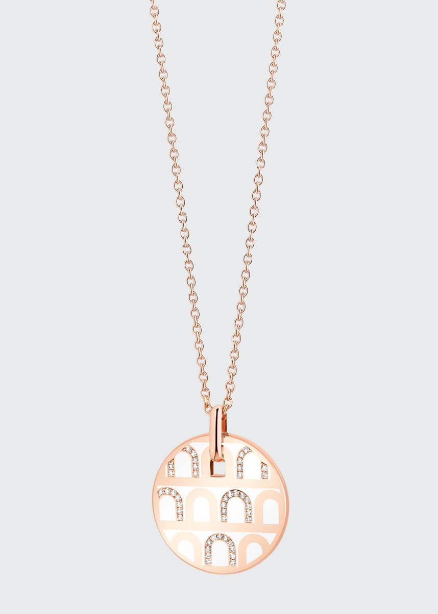 DAVIDOR 18k Rose Gold Ceramic and Diamond L'Arc Necklace, Neige