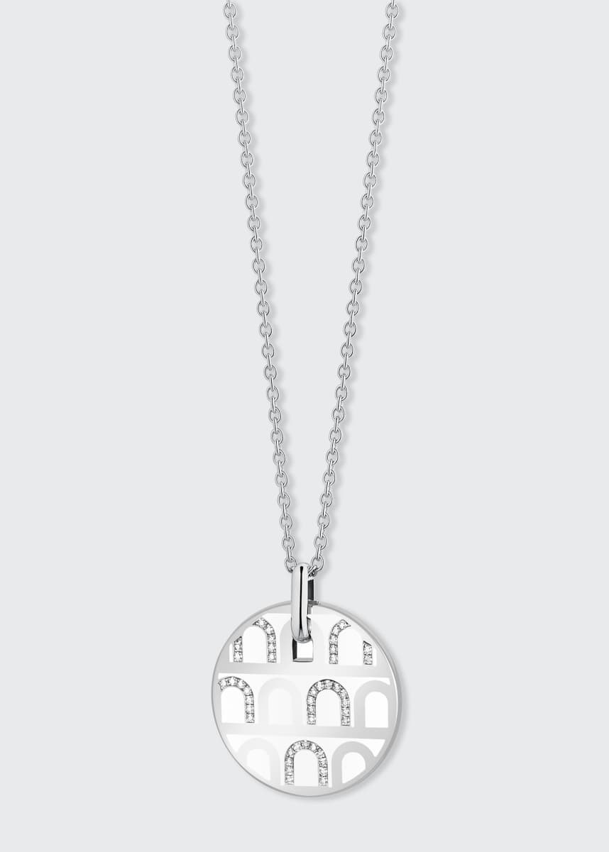 DAVIDOR 18k White Gold Ceramic and Diamond L'Arc Necklace, Neige