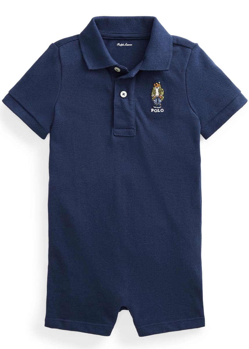 Ralph Lauren Childrenswear Boy's Ribbed Polo Embroidered Playsuit, Size 6-24M
