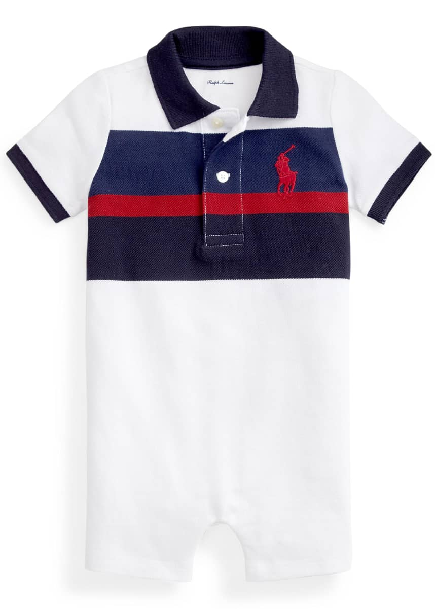 Ralph Lauren Childrenswear Boy's Striped Short-Sleeve Polo Playsuit, Size 6-24M