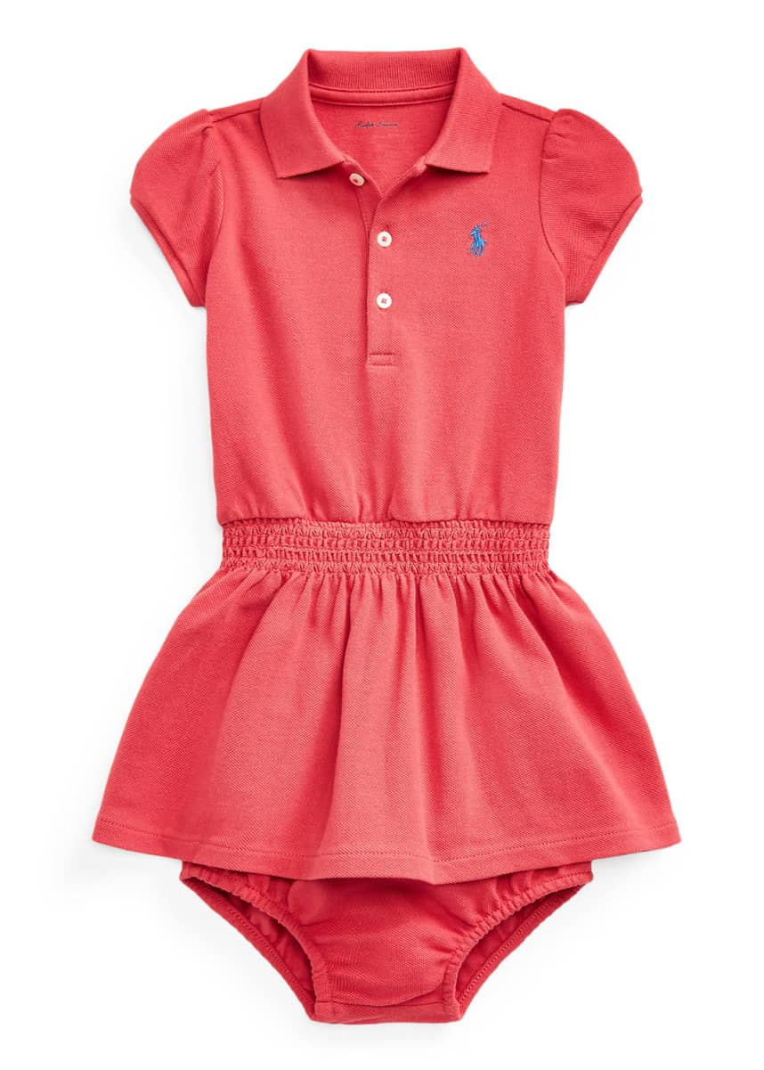 Ralph Lauren Childrenswear Girl's Smocked Polo Dress w/ Matching Bloomers, Size 6-24M