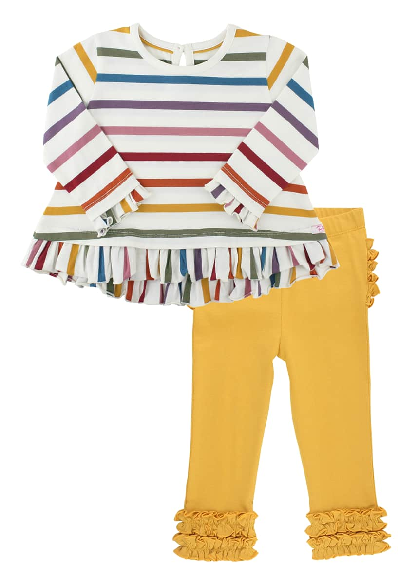 RuffleButts Girl's Harvest Rainbow Striped Top w/ Ruffle Leggings, Size 0-4T