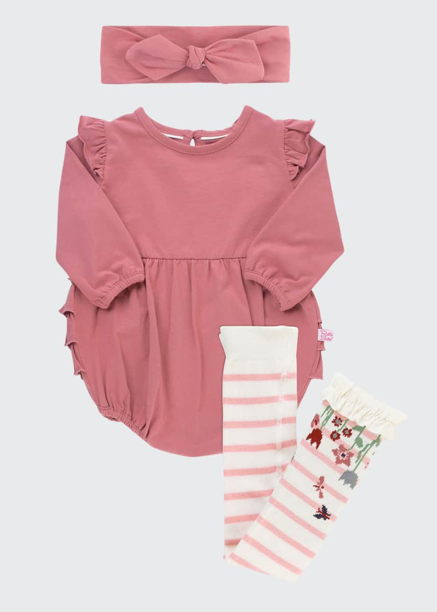 RuffleButts Girl's Solid Bubble Romper w/ Bow Headband & Striped Tights, Size 0-24M
