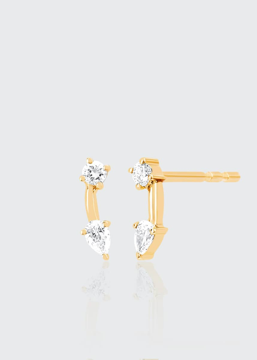 EF Collection 14k Solitaire and Pear Diamond Double Stud Earring, Single, Left