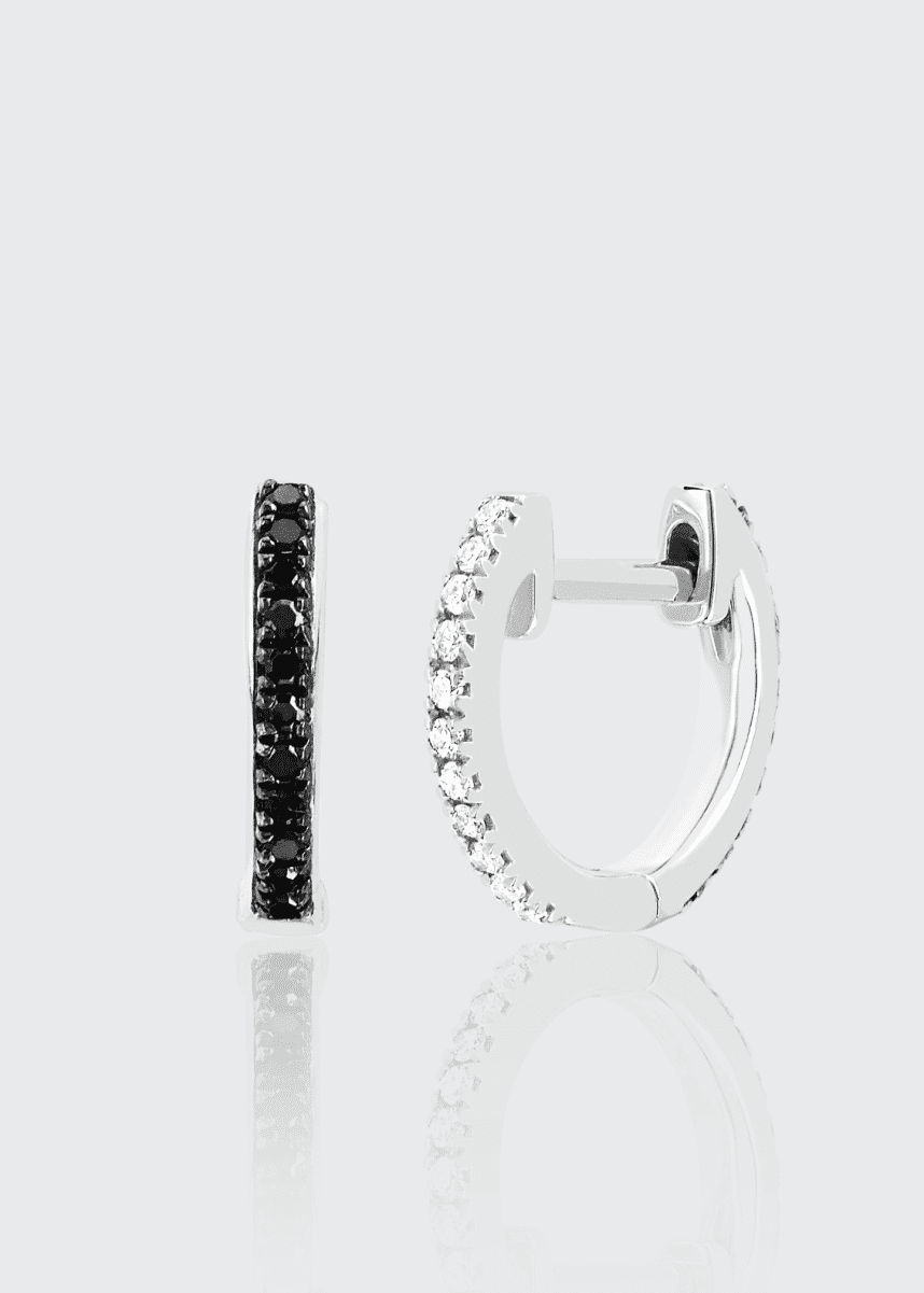 EF Collection 14k Black and White Diamond Reversible Mini Huggie Earring, Single