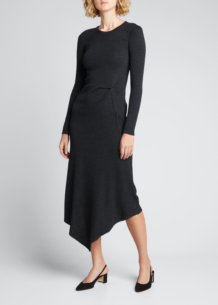 Theory Ribbed Side-Tuck Asymmetric Midi Dress