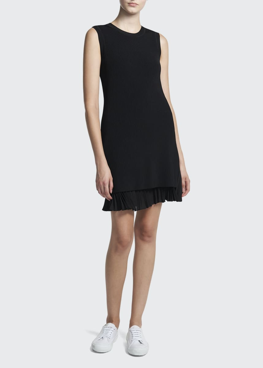 Theory Sleeveless Sweater Dress w/ Pleated Hem