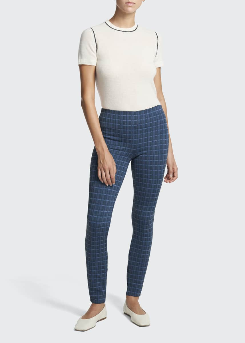 Theory Skinny Grid-Print Scuba Leggings