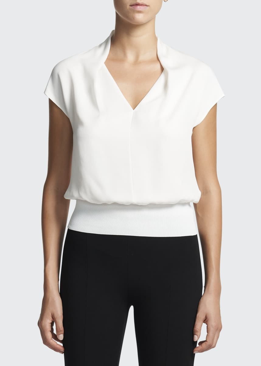 Theory Short-Sleeve Drape Silk Combo Top