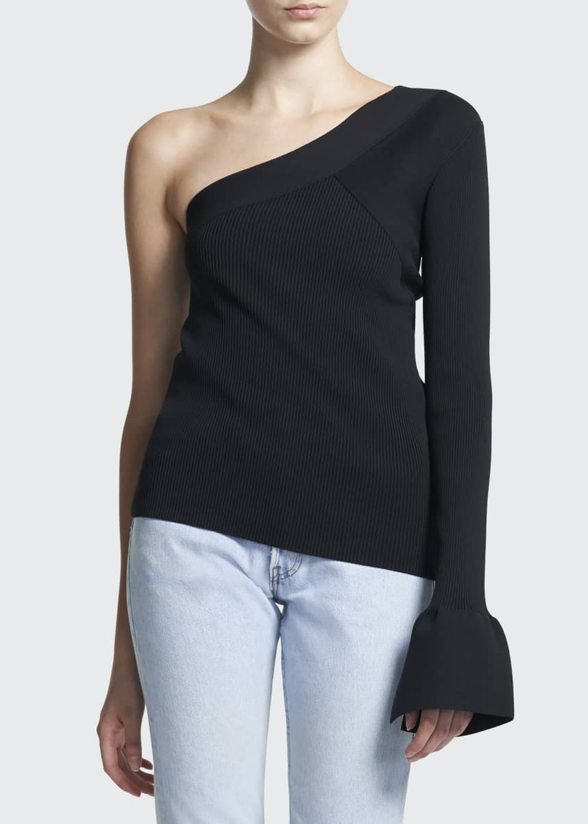 Theory One-Sleeve Matte Techno Rib-Knit Pullover
