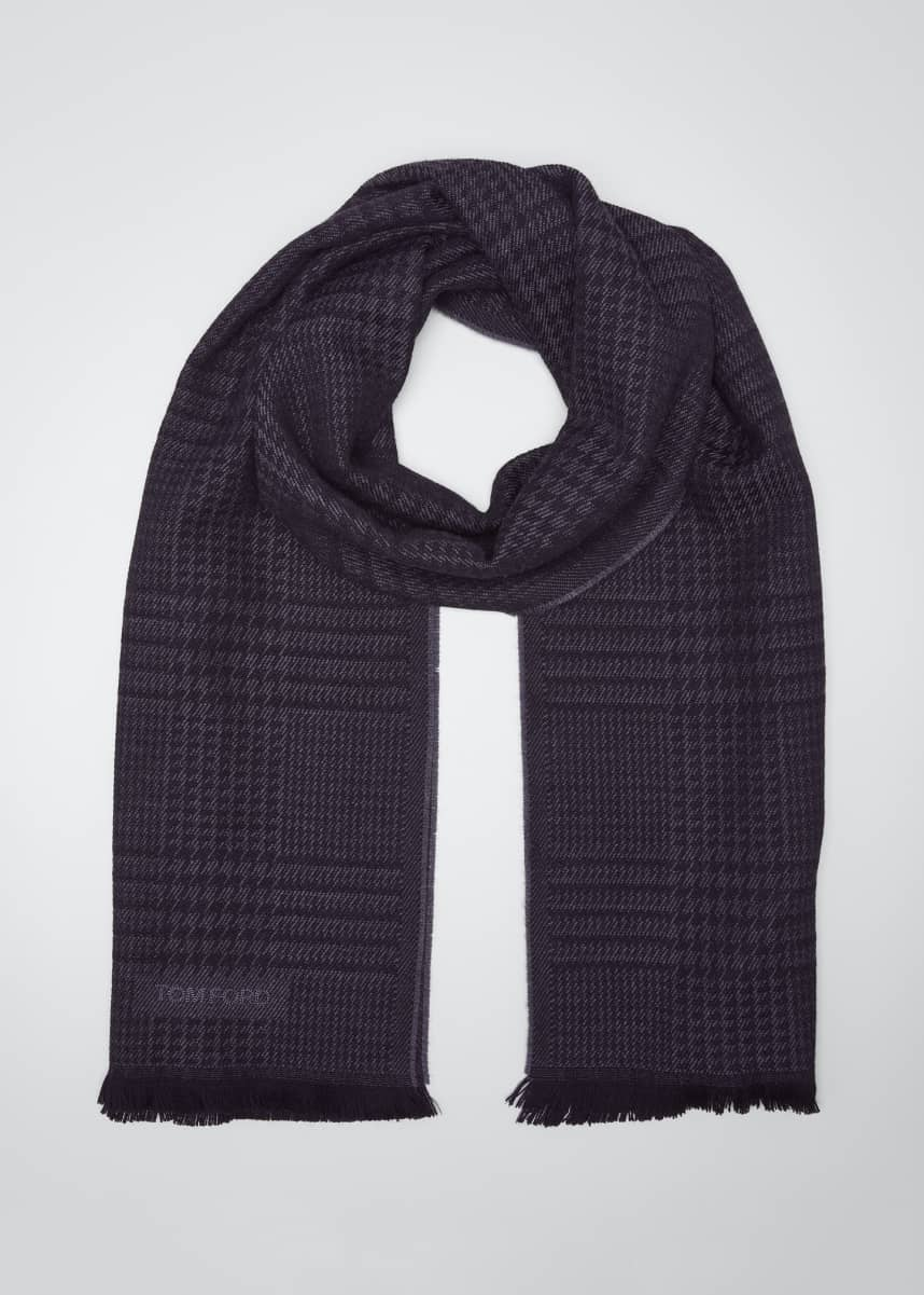 TOM FORD Men's Houndstooth Plaid Wool Scarf