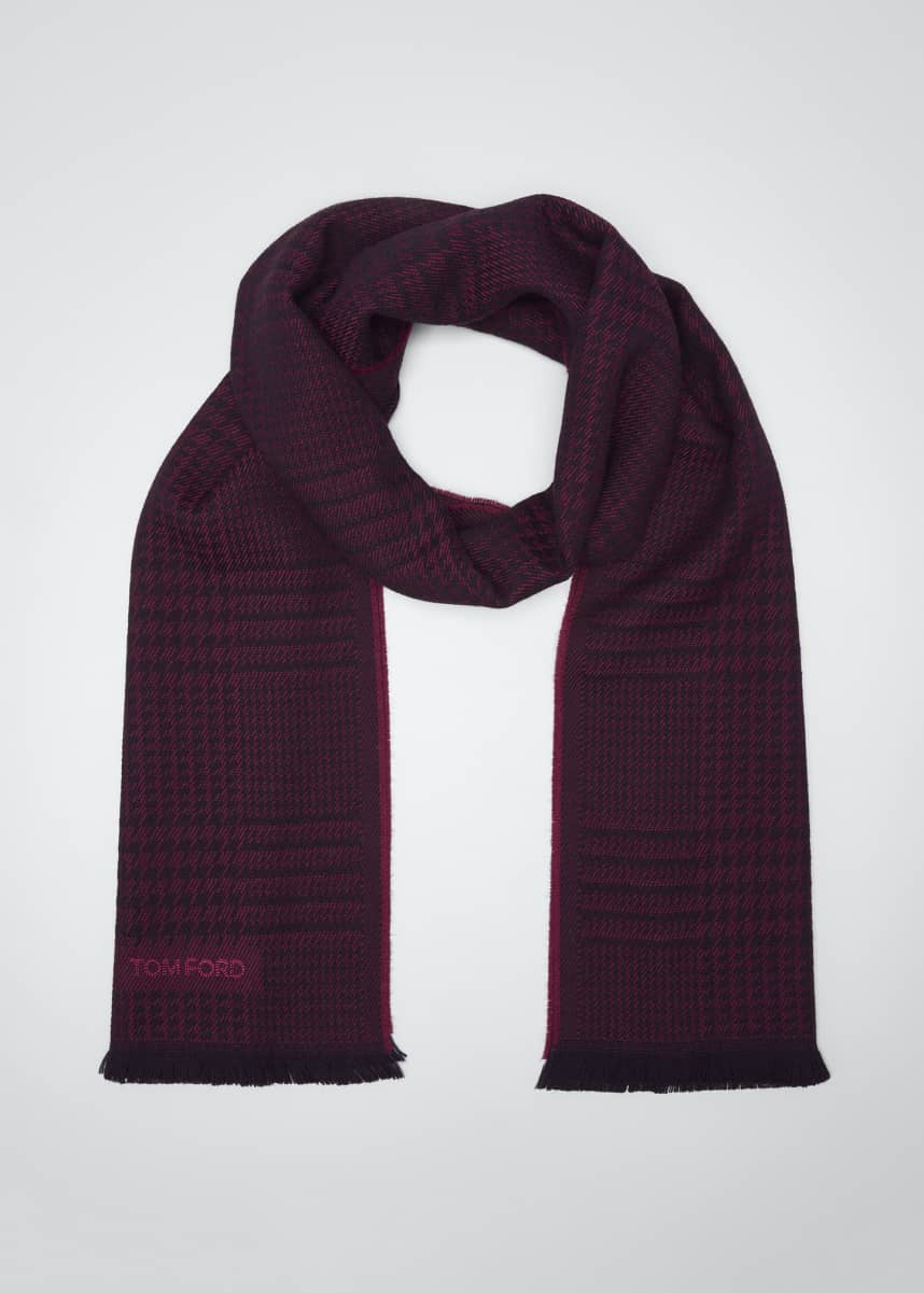 TOM FORD Men's Prince of Wales Wool Scarf