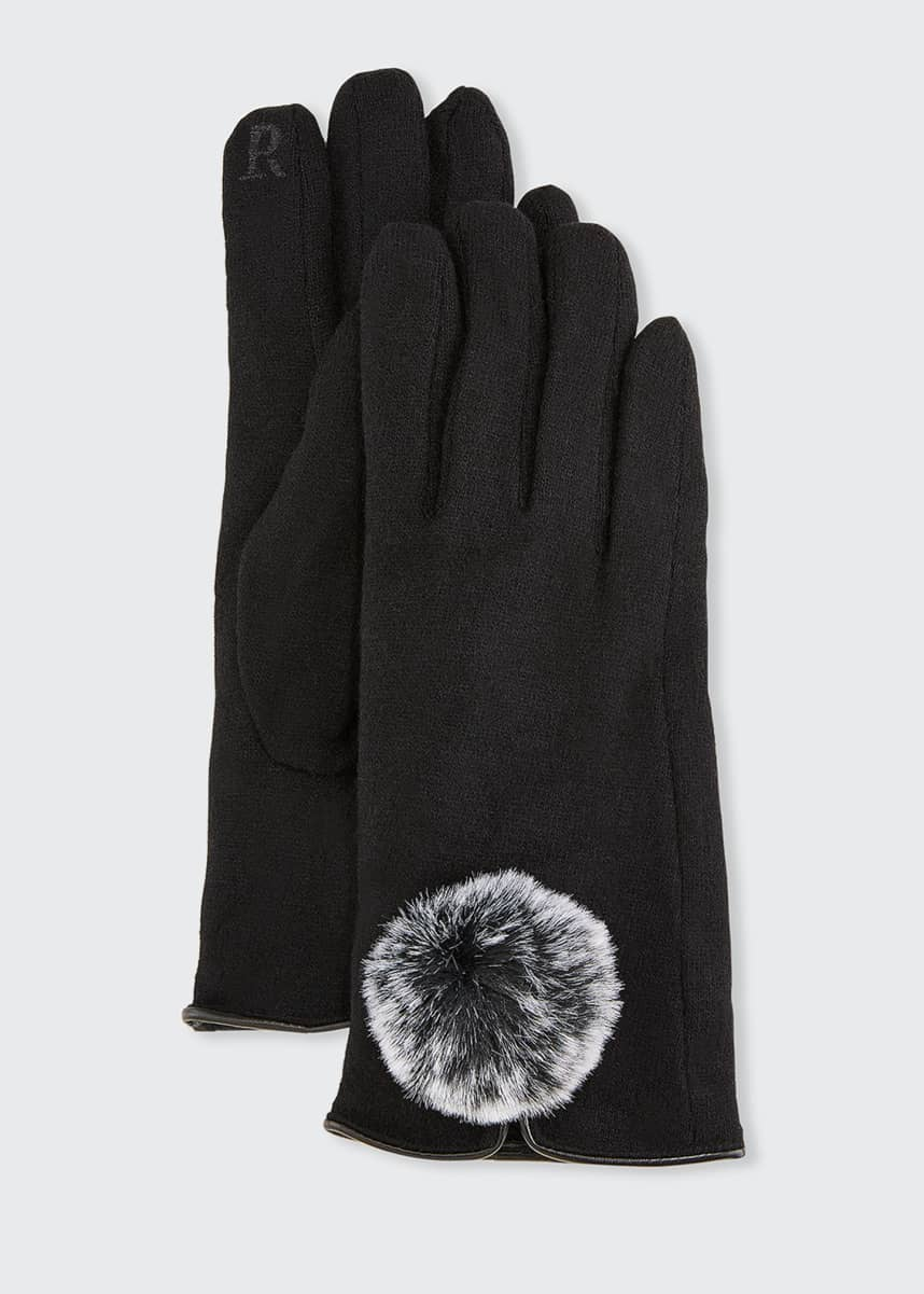 Pia Rossini Lucia Wool-Blend Gloves with Faux Fur Pompom