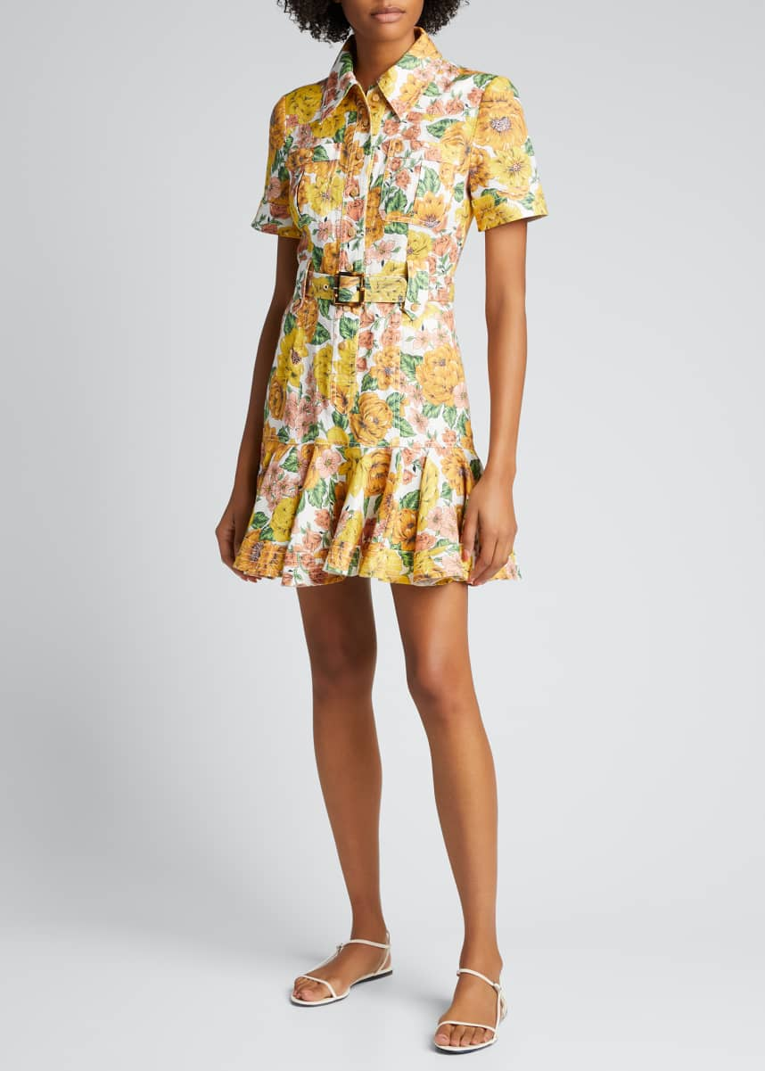 Zimmermann Poppy Belted Floral-Print Mini Dress