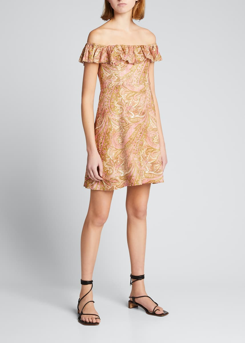 Zimmermann Brighton Ruffle-Neck Off-Shoulder Dress