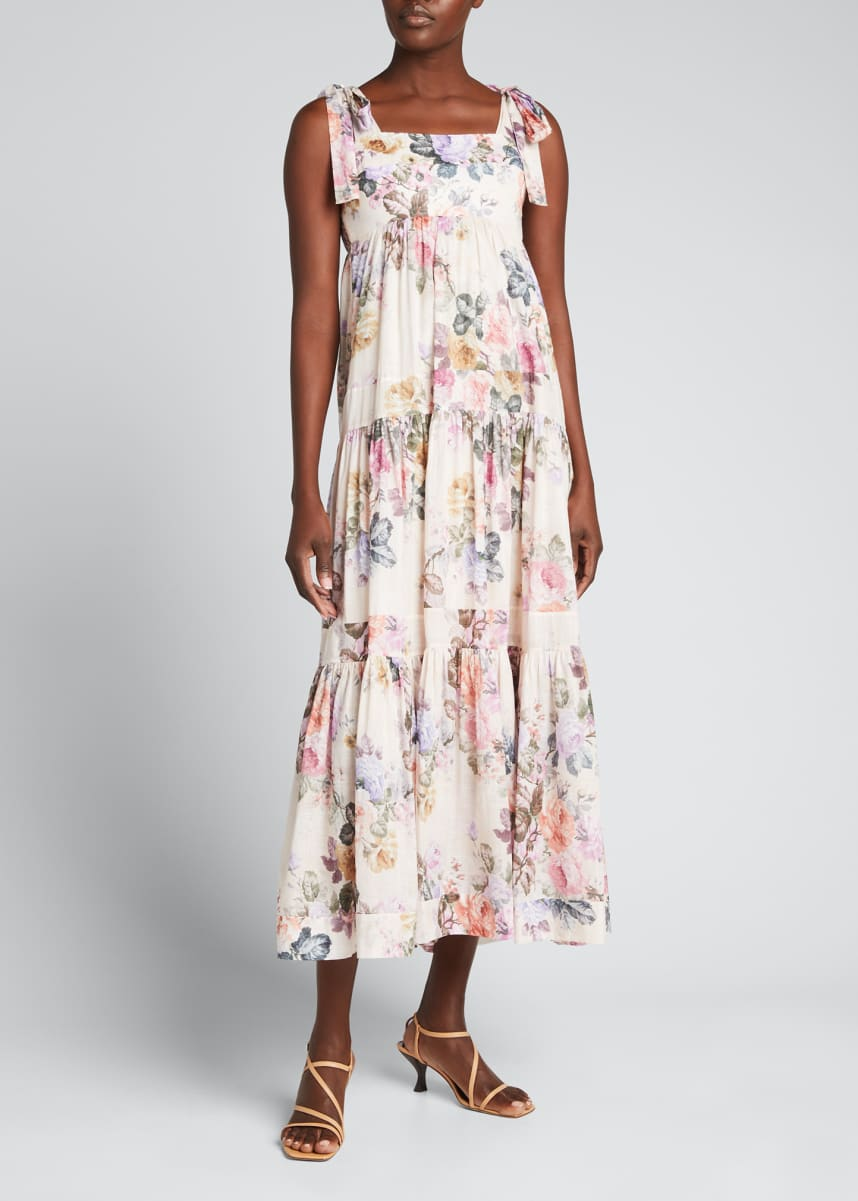 Zimmermann Brighton Tie-Shoulder Midi Dress