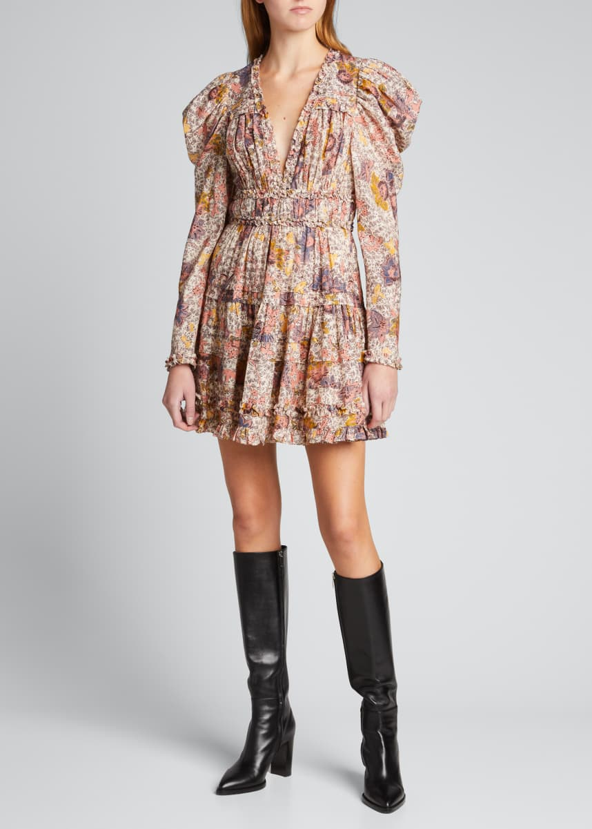 Ulla Johnson Julie Floral Puff-Sleeve Mini Dress