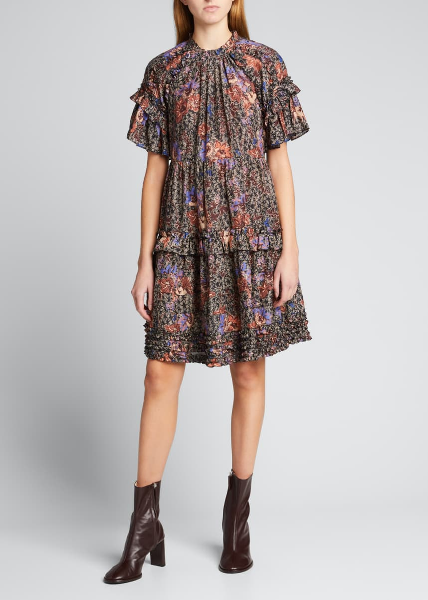 Ulla Johnson Delia Floral Tiered Ruffle Dress