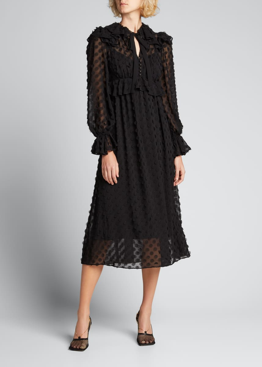 Zimmermann Textured Ruffle Midi Dress