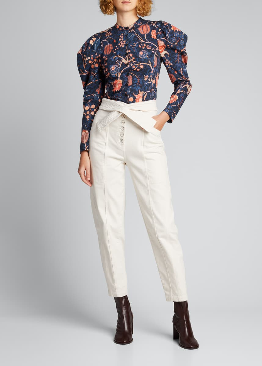 Ulla Johnson Harriet Floral Puff-Sleeve Cotton Blouse