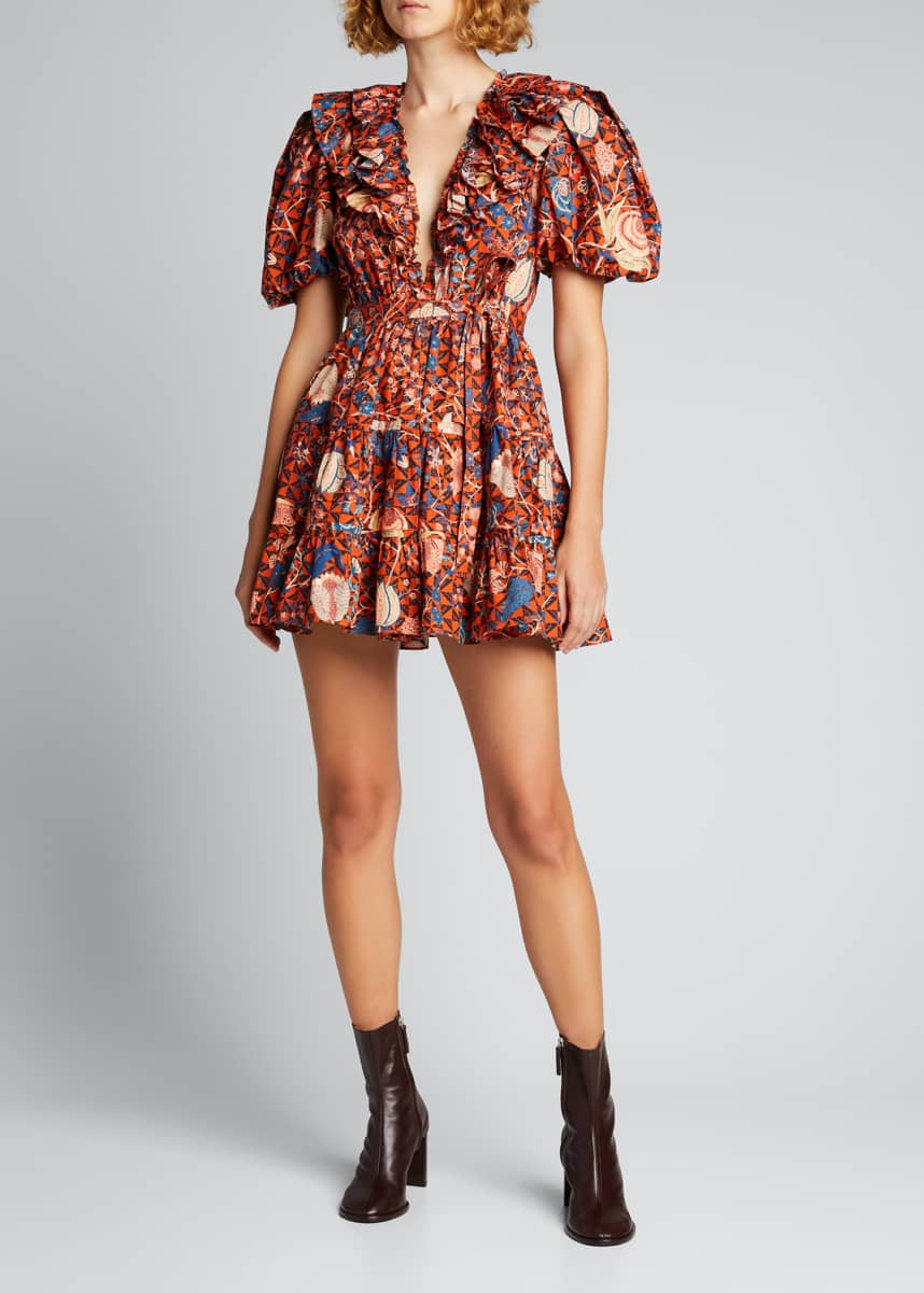 Ulla Johnson Maude Printed Puff-Sleeve Short Dress