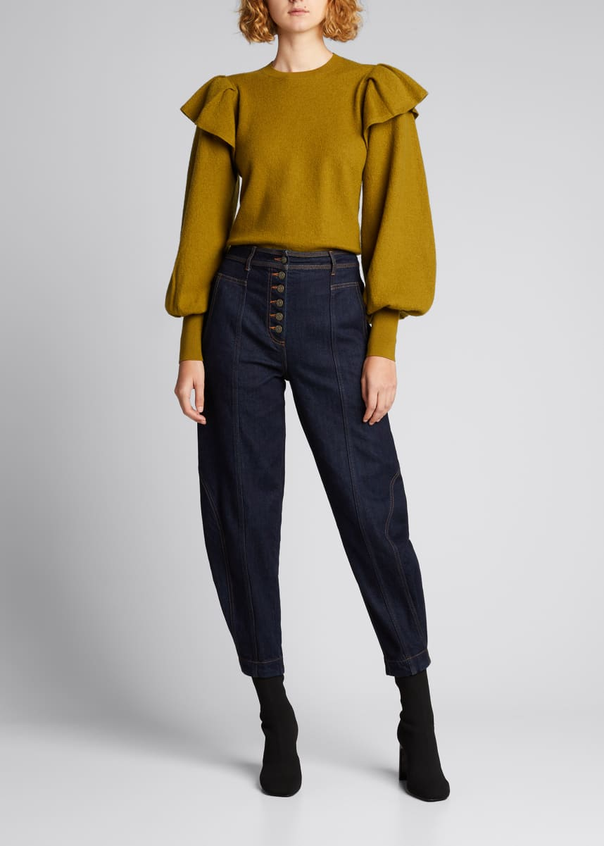 Ulla Johnson Lorena Wool Blouson-Sleeve Sweater