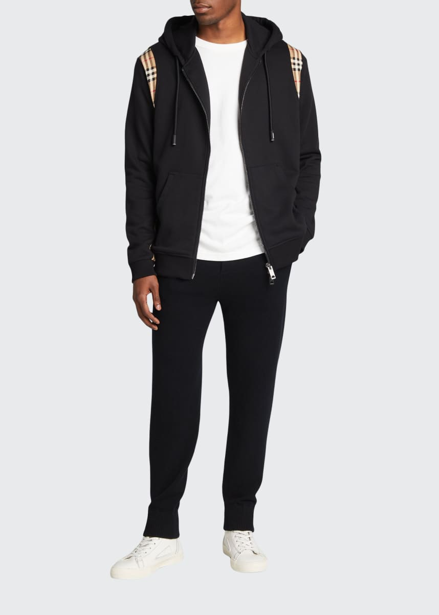 Burberry Men's Zip Hoodie with Check Sides