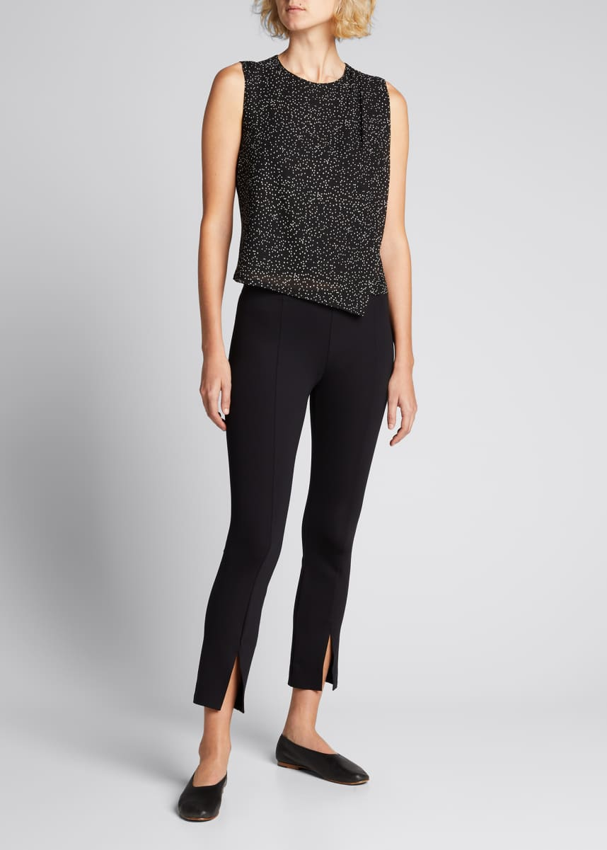 Theory Speckled Silk Draped Top