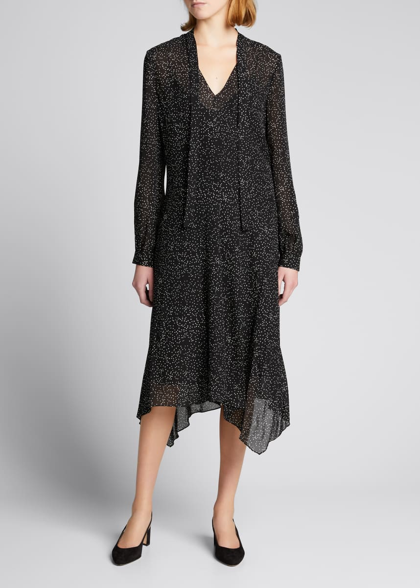 Theory Speckled Silk Draped Tie-Neck Dress