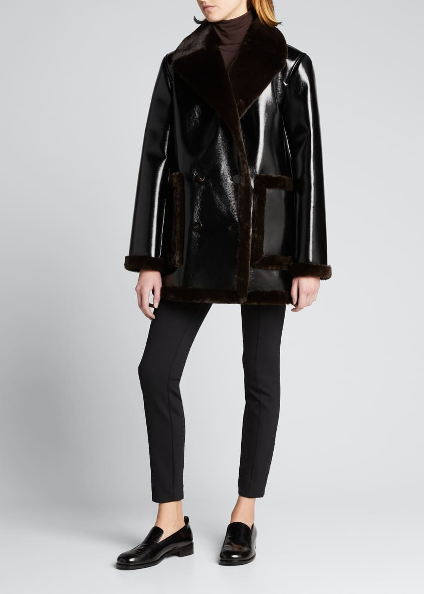 Theory Patent Faux-Leather Peacoat w/ Bonded Faux Shearling